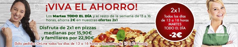 Todos los días de 13 a 16 horas y los martes durante todo el día disfruta de nuestro 2x1 en especialidades o pizza al gusto por 2€ menos. Solo en pedidos web.